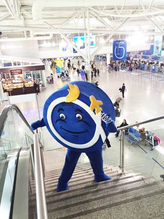 """""""Philos the Athenian"""", the Athens International Airport's Mascot, makes his debut appearance! Above, in the Main Terminal Building, and, below, during his first official appearance on the evening of April 30th"""